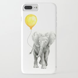 Elephant Watercolor Yellow Balloon Whimsical Baby Animals iPhone Case