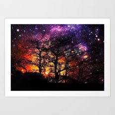 Black Trees Orange Purple Halloween Space Art Print