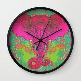 Pink Ganesha Wall Clock