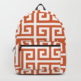 Burnt Orange and White Greek Key Pattern Backpack