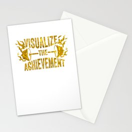 Motivating Visualize The Achievement Workout Apparel Gold Stationery Cards