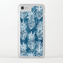 PINEAPPLE STANCE Indigo Boho Watercolor Clear iPhone Case