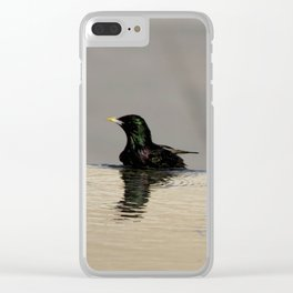 Little Purple and Green Bird on Blue Waters Edge Clear iPhone Case