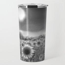 Monochrome Moonlight Sunflowers Travel Mug
