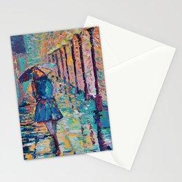 Girl with Umbrella - Figurative palette knife city landscape Valentines Day by Adriana Dziuba Stationery Cards
