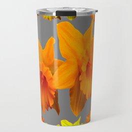 YELLOW-GOLD SPRING DAFFODILS & CHARCOAL GREY COLOR Travel Mug