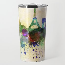 Paris skyline in watercolor background Travel Mug
