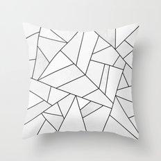 White Stone / Black Lines Throw Pillow