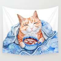 arnold Wall Tapestries featuring Happy Cat Drinking Hot Chocolate by Goosi