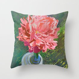 Single Peach Coral Peony in a Ball Canning Jar Throw Pillow