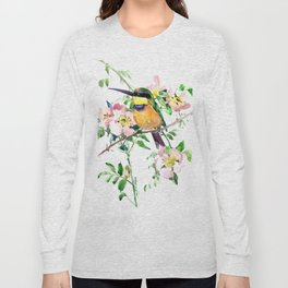 Bee-Eater and Rosehip, birds and flowers, bird art Long Sleeve T-shirt