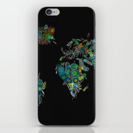 world map feathers mandala iPhone Skin