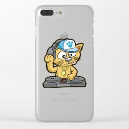 DJ CAT Cat Turntable Music MC Comic Clear iPhone Case