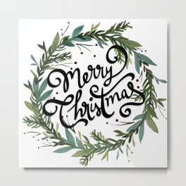 Merry Christmas Wreath Metal Print