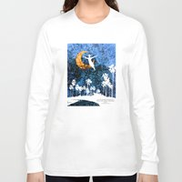 neverland Long Sleeve T-shirts featuring Peter Pan flying through Neverland by Chien-Yu Peng