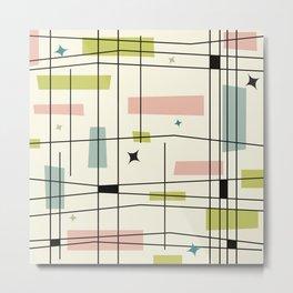 Mid Century Art Bauhaus Style Pastel Metal Print