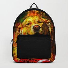 golden retriever dog football splatter watercolor Backpack