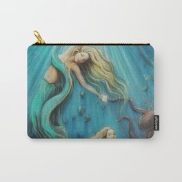The Mermaid's Gift // Ocean Goddess Sea Siren Nymph Underwater Octopus Coral Fish Girl Feminine Carry-All Pouch