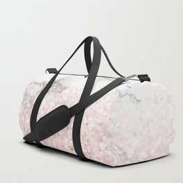 She Sparkles - Pastel Pink Glitter Rose Gold Marble Duffle Bag