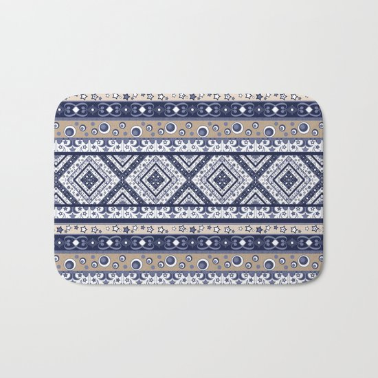 Abstract ornament. Rustic . Stripe. Bath Mat