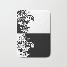 Abstract floral ornament in black and white colors Bath Mat
