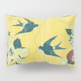 swallows and flowers Pillow Sham