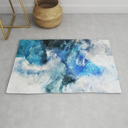 Waves Abstract Painting - Minimalist Seascape Painting Rug