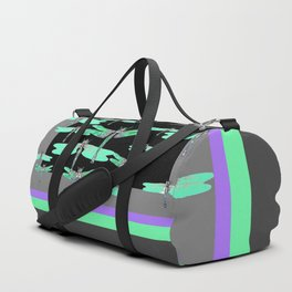 FLIGHT OF GREEN DRAGONFLIES VIOLET-GREY ART Duffle Bag