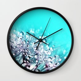 Dandelion With Water Crystals Wall Clock