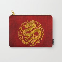 Traditional Yellow and Red Chinese Dragon Circle Carry-All Pouch