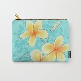 Tropical Turquoise Frangipani Carry-All Pouch