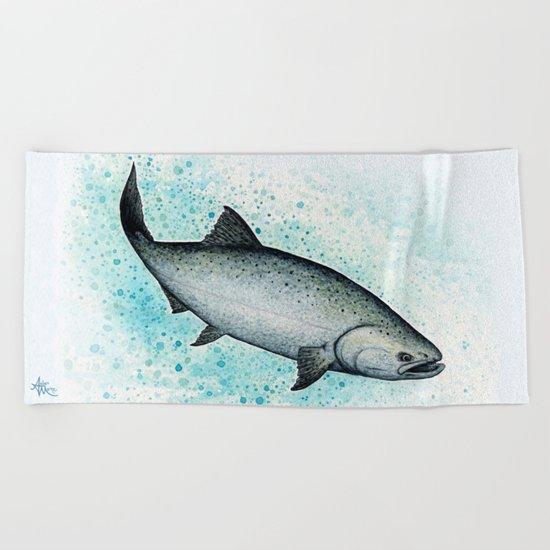 """Salmon Splash"" by Amber Marine ~ Watercolor Painting (c) 2016 Beach Towel"