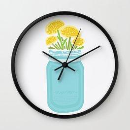 Geometric Mason Jar with Flowers Wall Clock