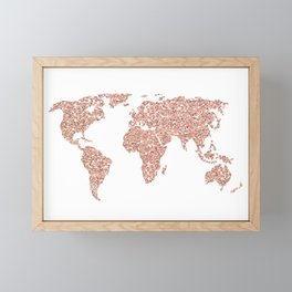 Rose Gold Glitter World Map Framed Mini Art Print