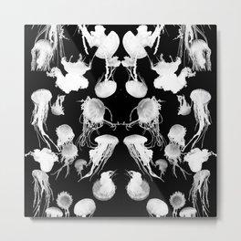 Black and White Jellyfish Metal Print
