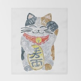 Watercolor Maneki Neko / Lucky Cat Throw Blanket
