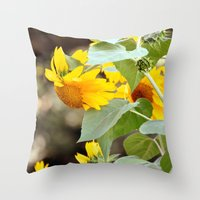 sunflowers Throw Pillows featuring SUNFLOWERS :) by Teresa Chipperfield Studios