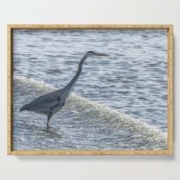 Great Blue Heron and Wave Serving Tray