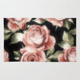 Classic Pink Roses on Black 2 Rug