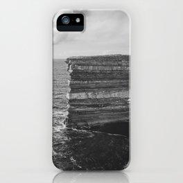 Dun Briste II Black and White iPhone Case