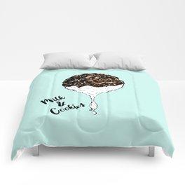 Cute Hand Drawn Foodie Cookies and Milk Comforters