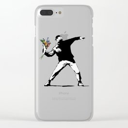 Banksy Flowers Flower thrower Clear iPhone Case