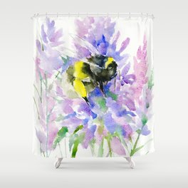 Bumblebee And Lavender Flowers Shower Curtain