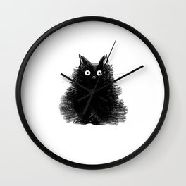 Duster - Black Cat Drawing Wall Clock