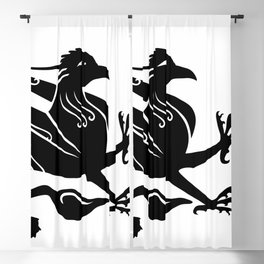 Medieval Royal Griffin Silhouette Blackout Curtain