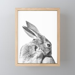 Black and white rabbit Framed Mini Art Print