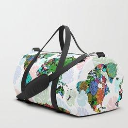 world map tropical leaves 2 Duffle Bag