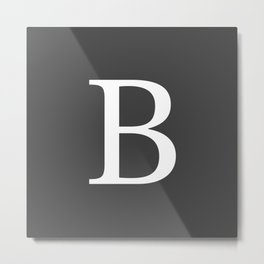 Very Dark Gray Basic Monogram B Metal Print