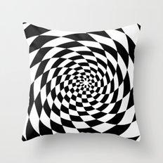 Optical Illusion Op Art Black and White Throw Pillow
