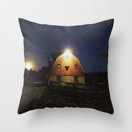My little Red Barn and the Moon Throw Pillow